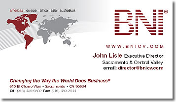 John Lisle Executive Director, BNI California Central Valley